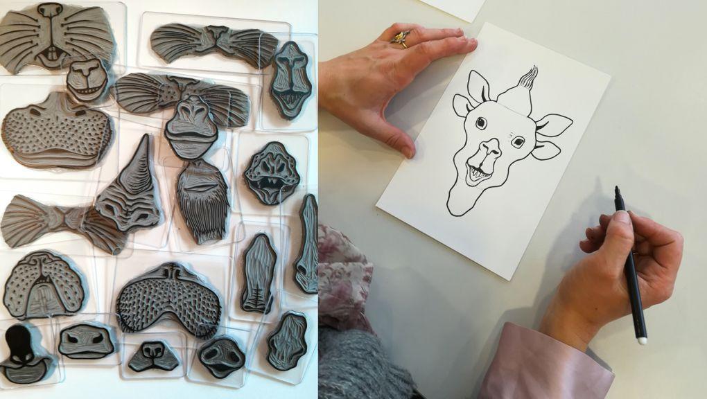 Ateliers créatifs : tampon-nez des Ateliers écotones © Ateliers écotones