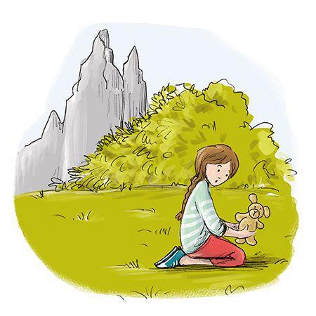 Aide Julie à retrouver le propriétaire du doudou - Illustration Marthe Mulkey